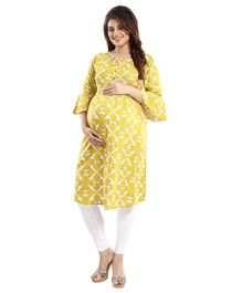 Mamma's Maternity Three Fourth Sleeves Geometric Print Nursing Kurta - Yellow