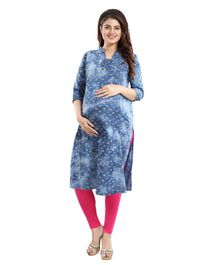 Mamma's Maternity Three Fourth Sleeves Leaves Printed Nursing Kurta - Blue