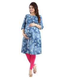 Mamma's Maternity Three Fourth Sleeves Floral Print Nursing Kurta - Light Blue