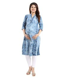 Mamma's Maternity Three Fourth Sleeves Flower Printed Nursing Kurta - Light Blue