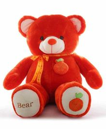Frantic Teddy Bear with Bow Apple Applique Red - Height 90 cm
