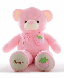 Frantic Teddy Bear with Bow Strawberry Applique Pink - Height 90 cm
