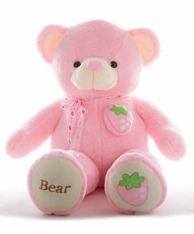 Frantic Teddy Bear with Bow Strawberry Applique Pink - Height 115 cm