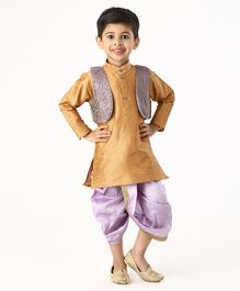 Ridokidz Full Sleeves Kurta With Self Design Jacket & Dhoti - Golden & Purple