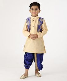 Ridokidz Full Sleeves Kurta With Self Design Jacket & Dhoti - Golden & Blue