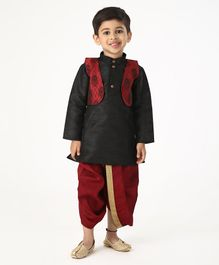 Ridokidz Full Sleeves Kurta With Self Design Jacket & Dhoti - Black & Maroon