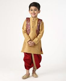 Ridokidz Full Sleeves Kurta With Self Design Jacket & Dhoti - Beige & Maroon