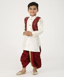 Ridokidz Full Sleeves Kurta With Self Design Jacket & Dhoti - Cream & Maroon