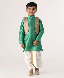 Ridokidz Full Sleeves Kurta With Self Design Jacket & Dhoti - Green