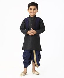Ridokidz Full Sleeves Kurta With Self Design Jacket & Dhoti - Black
