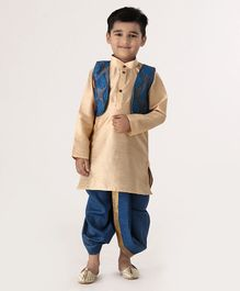 Ridokidz Full Sleeves Kurta With Self Embroidered Jacket & Dhoti - Blue & Golden