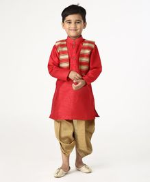 Ridokidz Full Sleeves Kurta With Striped Detailing Jacket & Dhoti - Red