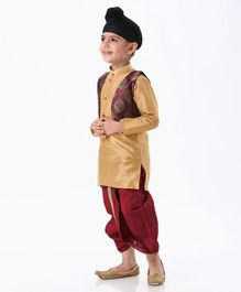 Ridokidz Full Sleeves Kurta With Self Design Kurta & Dhoti - Maroon