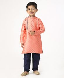 Ridokidz Golden Self Design Full Sleeves Kurta & Pajama Set - Peach