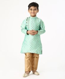 Ridokidz Golden Self Design Full Sleeves Kurta & Pajama Set - Sea Green