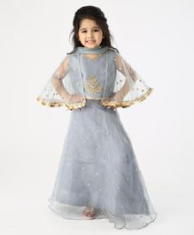 Ridokidz Sleeveless Golden Flower Embroidery Detailing Three Fourth Sleeves Choli With Lehenga & Dupatta - Grey