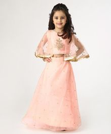 Ridokidz Golden Flower Embroidery Detailing Three Fourth Sleeves Choli With Lehenga & Dupatta - Peach