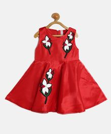 Kids On Board Sleeveless Flower Patch Detailed Dress - Red