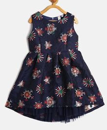 Kids On Board Sleeveless Snowflakes Printed Flared Dress - Navy Blue