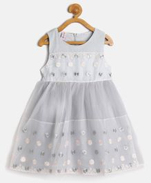 Kids On Board Sleeveless Flower Embroidered Flared Dress - Grey
