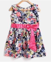 Kids On Board All Over Flower Printed Sleeveless Bow Detailed Dress - Multi Colour
