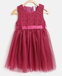 Kids On Board Sleeveless Flower Embroidered Fit & Flare Tulle Dress - Maroon