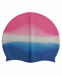 PASSION PETALS Silicone Swimming Cap - Blue Pink White