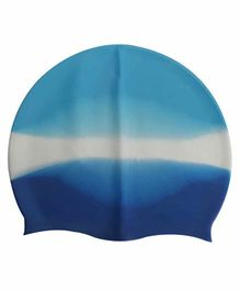 PASSION PETALS Silicone Swimming Cap - Blue White