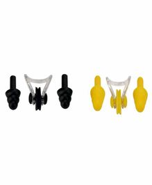 Passion Petals Silicone Ear Plugs with Nose Plug Set of 4 - Yellow Black