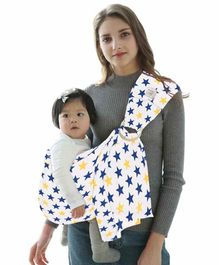 Polka Tots Baby Ring Sling Carrier Wrap Star Print - White