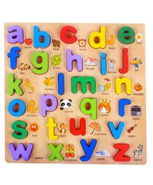 FunBlast Wooden Small Letters Puzzle Board Multicolor - 27 Pieces