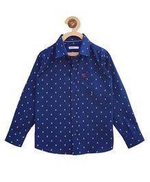 Campana Full Sleeves Printed Shirt - Navy & White