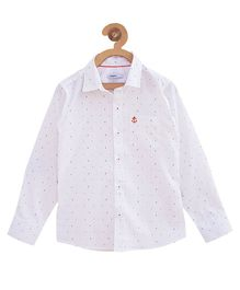 Campana Tiny Dot Print Full Sleeves Shirt - White