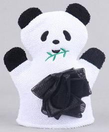 Panda Shaped Bath Glove With Loofa - Black White
