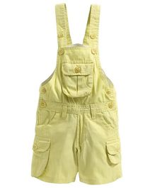 FirstClap Solid Sleeveless Dungaree - Light Yellow