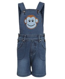 FirstClap Monkey Patch Sleeveless Dungaree - Blue