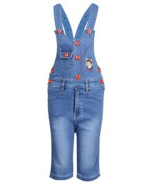 FirstClap Bear Embroidered Sleeveless Dungaree  - Light Blue