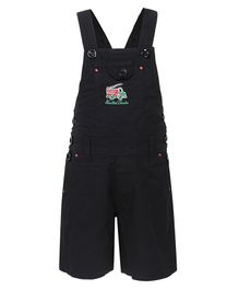 FirstClap Fire Engine Embroidered Sleeveless Dungaree - Black