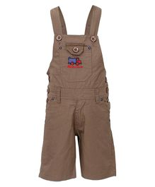 FirstClap Fire Engine Embroidered Sleeveless Dungaree - Brown
