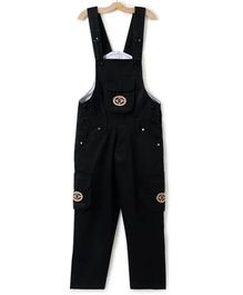 FirstClap Solid Front Pocket Sleeveless Dungaree - Black