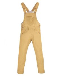 FirstClap Solid Front Pocket Sleeveless Dungaree - Light Brown