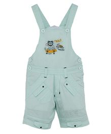 FirstClap Tortoise Embroidered Sleeveless Dungaree - Sea Green
