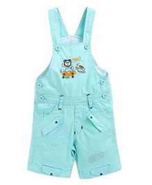 FirstClap Tortoise Embroidered Sleeveless Dungaree - Blue