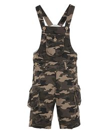 FirstClap Camouflage Printed Front Pocket Sleeveless Dungaree - Brown