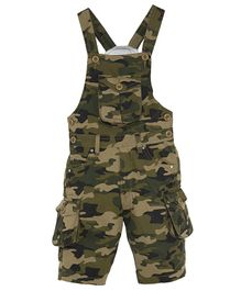 FirstClap Camouflage Printed Front Pocket Sleeveless Dungaree - Green