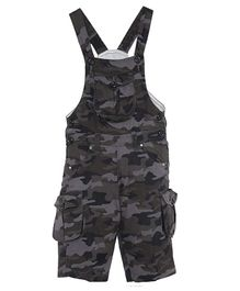 FirstClap Camouflage Printed Front Pocket Sleeveless Dungaree - Grey
