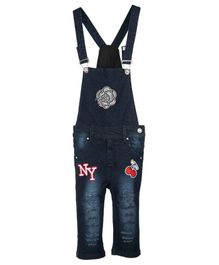 FirstClap Flower & Cherry Printed Sleeveless Dungaree - Dark Blue