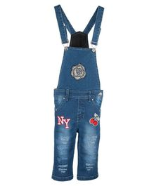 FirstClap Flower & Cherry Printed Sleeveless Dungaree - Light Blue