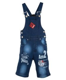 FirstClap Boy Face Embroidered Sleeveless Dungaree - Dark Blue