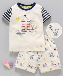 First Smile Half Sleeves Night Suit House Print - Cream